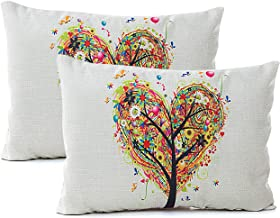 Treely Oil Painting Throw Pillow Covers Colorful Linen Decorative Pillowcases Tree Cushion Cover 12 X 20 Inches