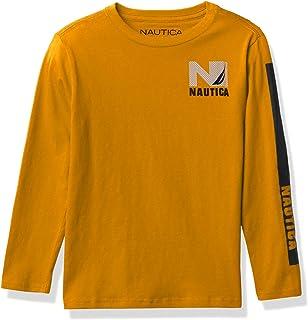 Nautica boys Nautica Boys' Long Sleeve Colorblock Arm Logo Tee T-Shirt