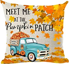 ramirar Hand Painted Watercolor Blue Pickup Truck Orange Maple Leaves Pumpkins Patch Fall Decorative Throw Pillow Cover Case Cushion Home Living Room Bed Sofa Car Cotton Linen Square 18 x 18 Inches