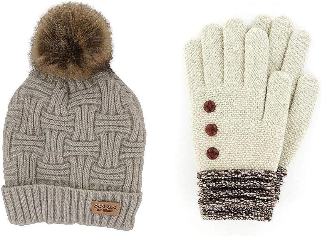 Britt's Knits Women's Plush-Lined Knit Hat and Glove Set