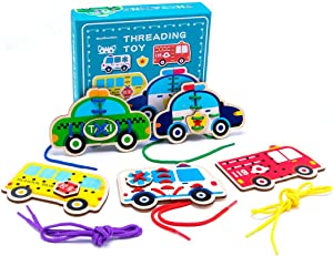 Promise Babe 5 Pack Wooden Cars Lacing Cards Wood Block Puzzle Threading Toys Montessori Toy Sewing Cards for Toddler Educational Preschool Toys