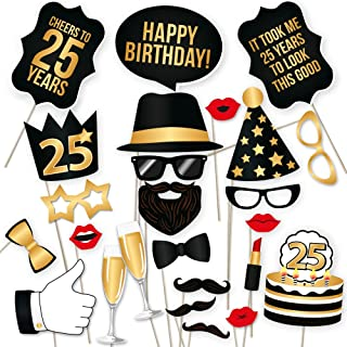 25th Birthday Photo Booth Props – Fabulous Forty Party Decoration Supplies For Him &Her, Funny Fortieth Bday Photobooth Backdrop Signs For Men And Women, Photography Black And Gold Décor – 34 Pieces