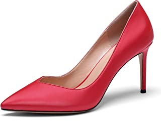 YODEKS High Heeled Pumps for Women Girls Sexy Solid Pattern Pointy Toe Slip On Stilettos Party Wedding Pumps Basic Dress Shoes