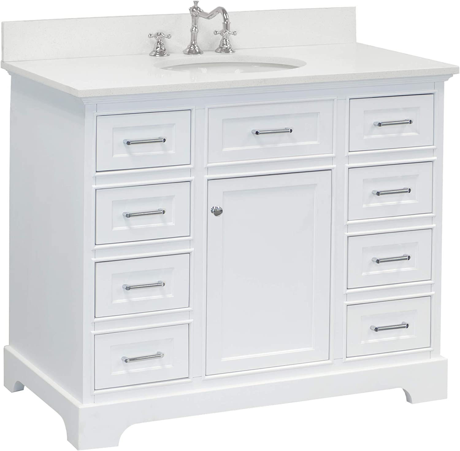 Amazon Com Aria 42 Inch Bathroom Vanity Quartz White Includes White Cabinet With Stunning Quartz Countertop And White Ceramic Sink Home Improvement
