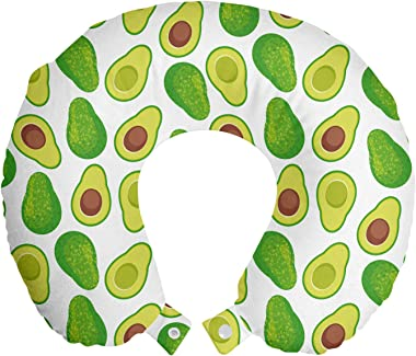 "Lunarable Avocado Green Travel Pillow Neck Rest, Print of Items Full of Vitamins, Memory Foam Traveling Accessory for Airplane and Car, 12"", Lime Green White Brown"