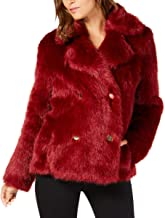 Michael Michael Kors Womens Winter Double-Breasted Faux Fur Jacket