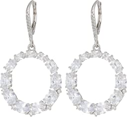 Small Oval CZ Frintal Hoop Earrings
