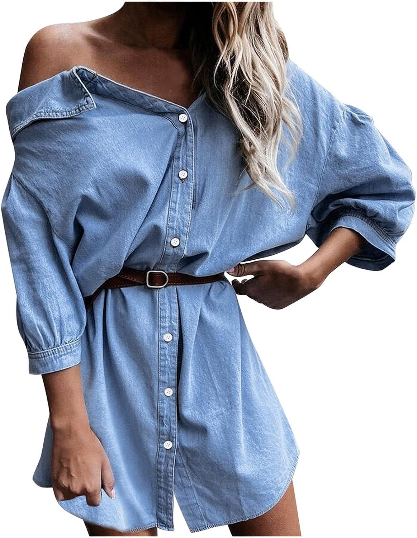 Summer Dresses Maxi Dress Women's Dress Middle Waist Seven Minute Sleeve Cardigan Solid Color Single Denim