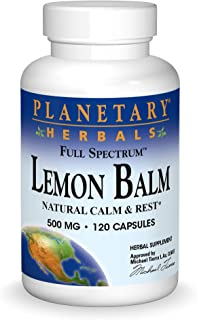 Planetary Herbals Lemon Balm Full Spectrum 500mg, Natural Calm and Rest, 120 Capsules