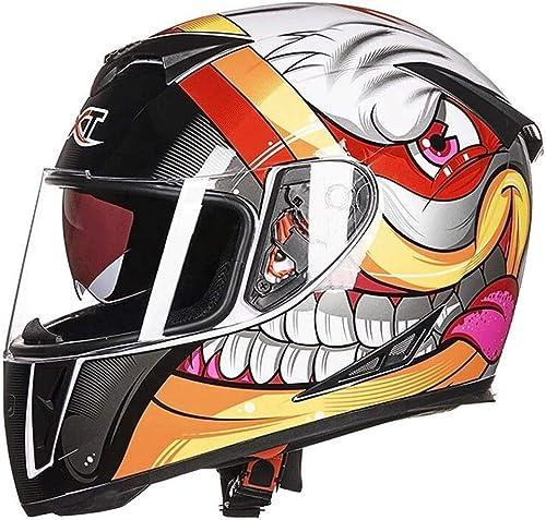 Zcx Casque   Casque Moto Tout-Terrain   Doubleure Amovible Casque De Motocross Tout-Terrain Racer   Casque Tout-Terrain Ajustable Ajustable ( Couleur   Blanc , Taille   L )