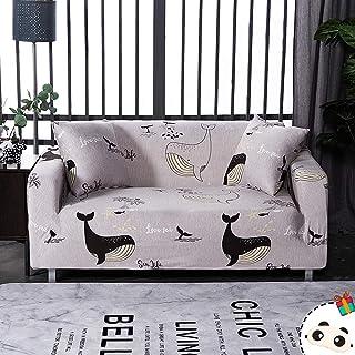 Enhome Funda Sofá Elastica Universal, 1 2 3 4 Plazas Extensible Forro de Sofá Antideslizante Cubierta Impresión Cubre de Sofá Protector para Muebles y Mascotas (Negro Delfín,1 Plazas)