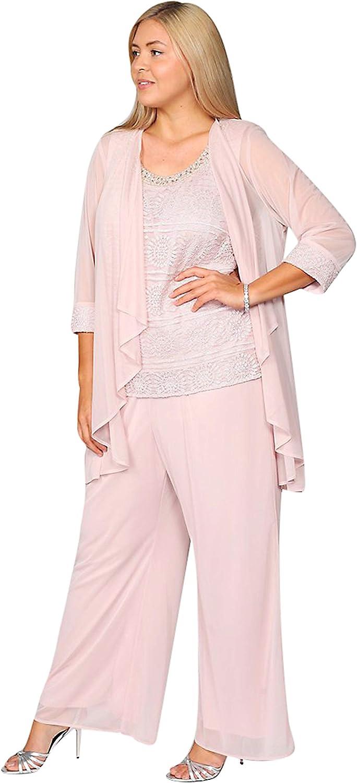 R&M Richards Plus Size Lace Chiffon Pant Suit