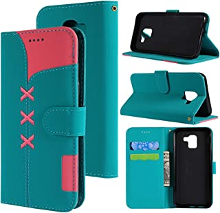 SHUHAN Mobile Phone Case for Galaxy Fabric Stitching Embroidery Horizontal Flip Leather Case With Holder & Card Slots & Wallet for Galaxy J6(Red) (Color : Light Blue)