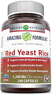 Amazing Formulas Red Yeast Rice 1200 mg 240 Capsule - Supports Overall Health & Well-Being, Supports Cardiovascular Health...