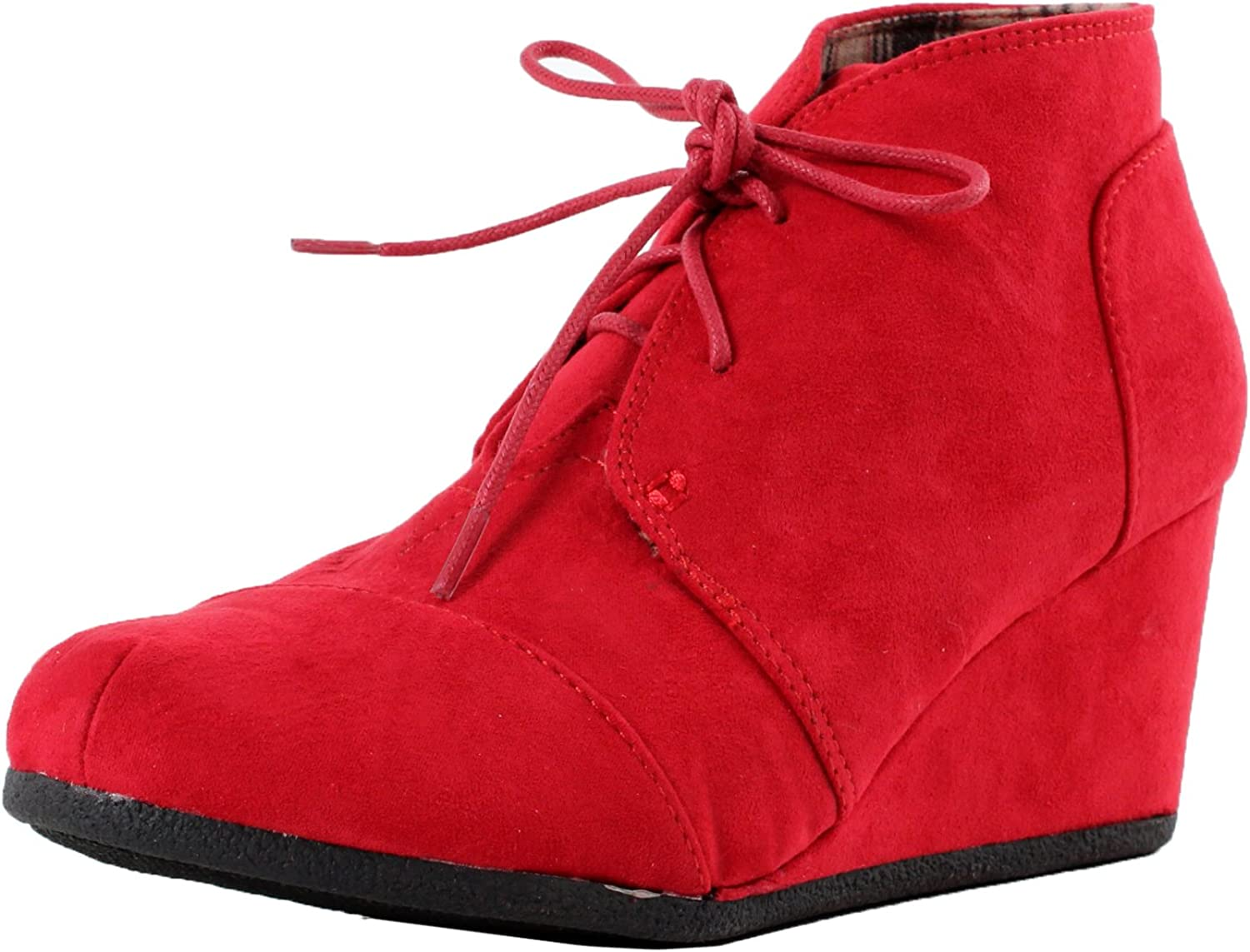 Top Moda Forever Link Womens Patricia-01 Lace Up Faux Suede Ankle Wedge Booties,6 B(M) US,Red