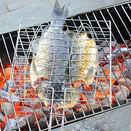 Filete camarones Zwindy Canasta de Asar a la Parrilla de Metal Verduras Canasta de Asar a la Parrilla con Mango antiescaldado para Pescado Herramienta para Acampar al Aire Libre Carne