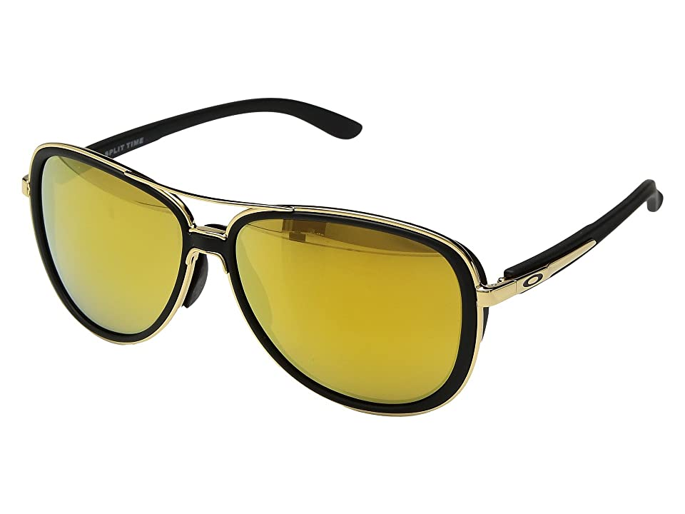 Oakley Split Time (Soft Touch Black/Polished Gold w/ 24K Iridium) Athletic Performance Sport Sunglasses