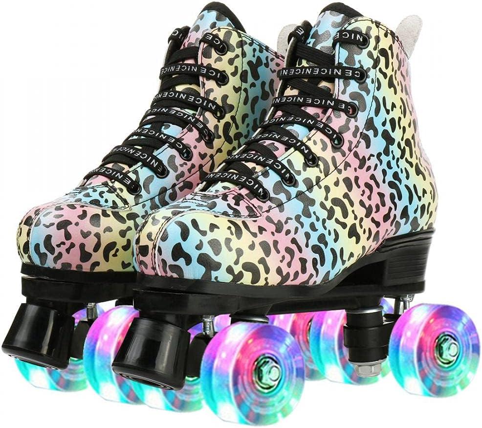 discount Roller Skates Ultra-Cheap Deals for Women Men Beginners Double-Row Leopard Pattern