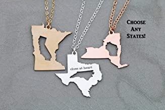 Two State Inner Outer Cutout Charm - IBD Best Friendship Gift - Graduation - Custom Location Country - 935 Sterling Silver 14K Rose Gold Filled Necklace - 1 Inch 25.4 MM