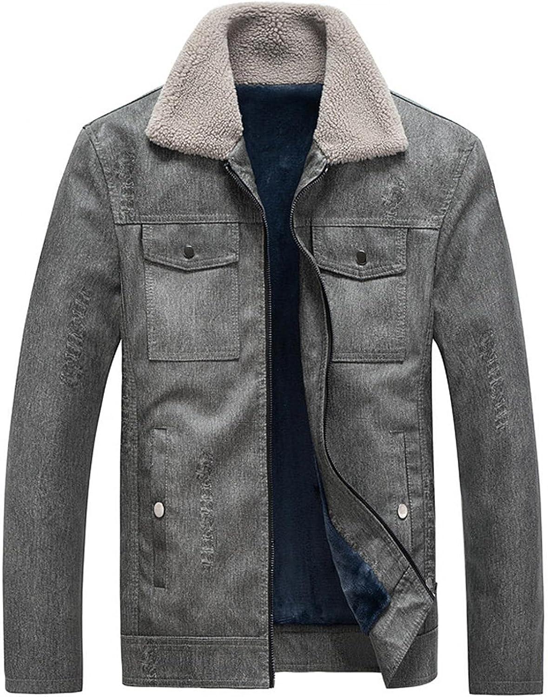 Kuokuo Men's Washed Denim Jackets Borg Collar Fleece Sherpa Liner Winter Warm Coats Full Zip Heavyweight Trucker Jacket