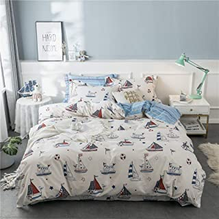 AMZTOP 【Newest Arrival】 Kids Sailing Duvet Cover Queen Blue and White Cartoon Sailboat Duvet Cover Teens Boys Cotton Comforter Cover Set Stripe, NO Comforter NO Sheet