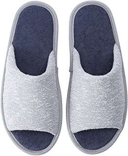 Home Slippers, Women's Open Toe Foam Spa Slippers, Slippers with Faux Fur Non-Slip Soles for Girls, Memory Foam Indoor Shoes,Col3,M