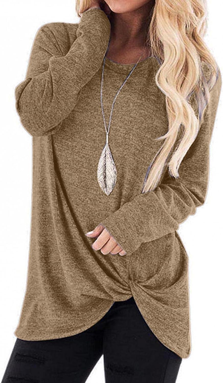POLLYANNA KEONG Long Sleeve Shirts for Women,Women's Crewneck Sweatshirts Casual Twist Knot Front Long Sleeve Tops