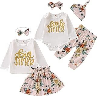 Kids Newborn Baby Girls Sister Outfit Letter Romper T-Shirt+Floral Print Tutu Skirt Long Pants Dress Matching Clothes Set