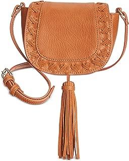 INC Womens Logan Faux Leather Tassel Saddle Bag Brown Small