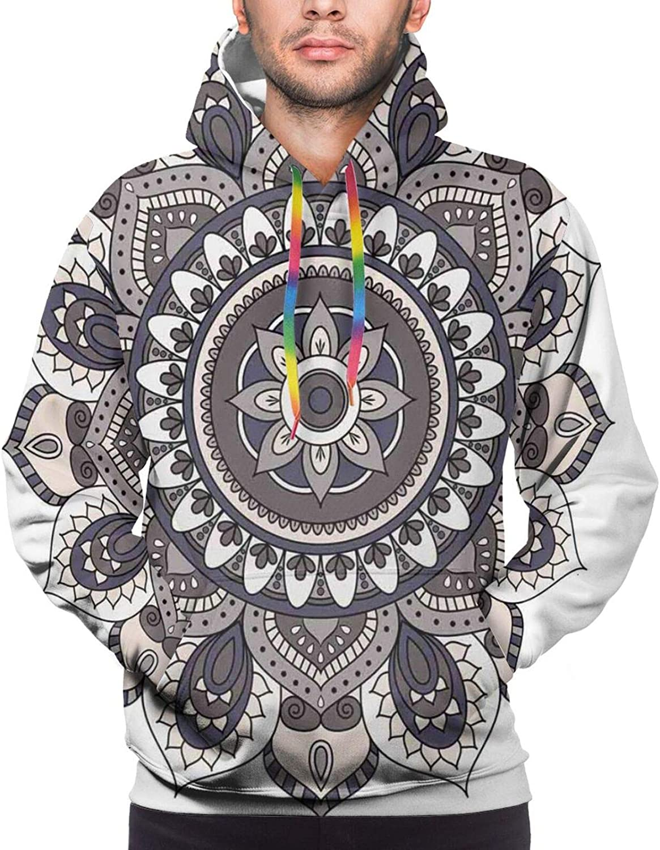 Men's Hoodies Sweatshirts,Oriental Mandala Design with Horoscope Symbol Floral Arrangement