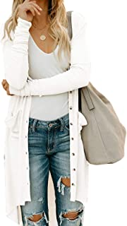 Asskdan Women's Long Sleeve Button Down Knit Ribbed Cardigans with Pocket Outerwear Tops