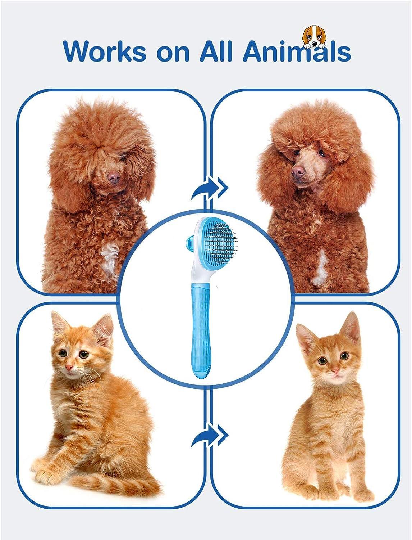 Cepillo de aseo para mascotas m/ás liviano Comius Sharp Cepillo para perros y cepillo para gatos Blue Cepillo de limpieza autolimpiante para perros y gatos Herramientas de cuidado de derramamiento
