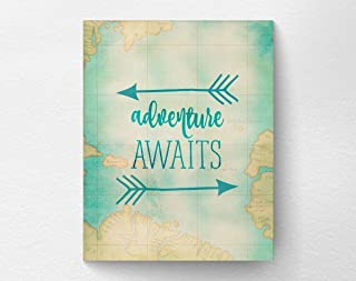 Adventure Awaits Travel Art Print Poster Wall Decor, Travel Nursery, Map Print, Graduation Gift 8x10 Print