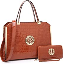 Fashion Women PU Leather Structured Satchel Briefcase Purse and Handbags with Matching Wallet