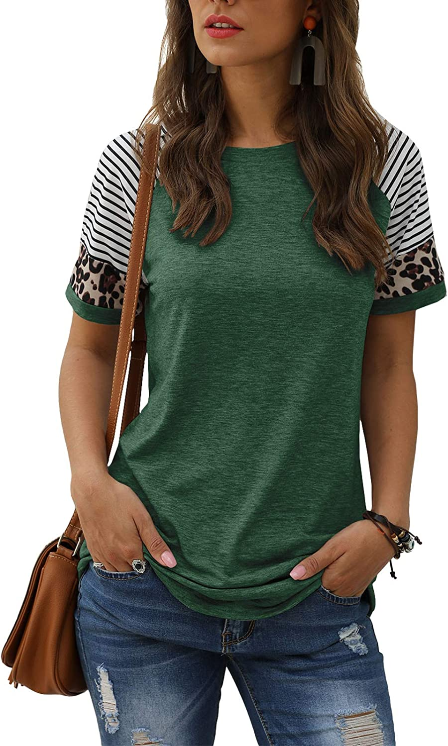 Womens Summer Tops Casual Short Sleeve Blouse T Shirts Tee Tunic