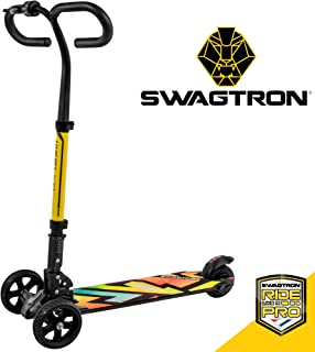 Swagtron Cali Drift Three-Wheel Electric Scooter Folding E-Scooter with 250W Motor, Thumb Throttle, Handbrakes, and 15.5MPH Max Speed