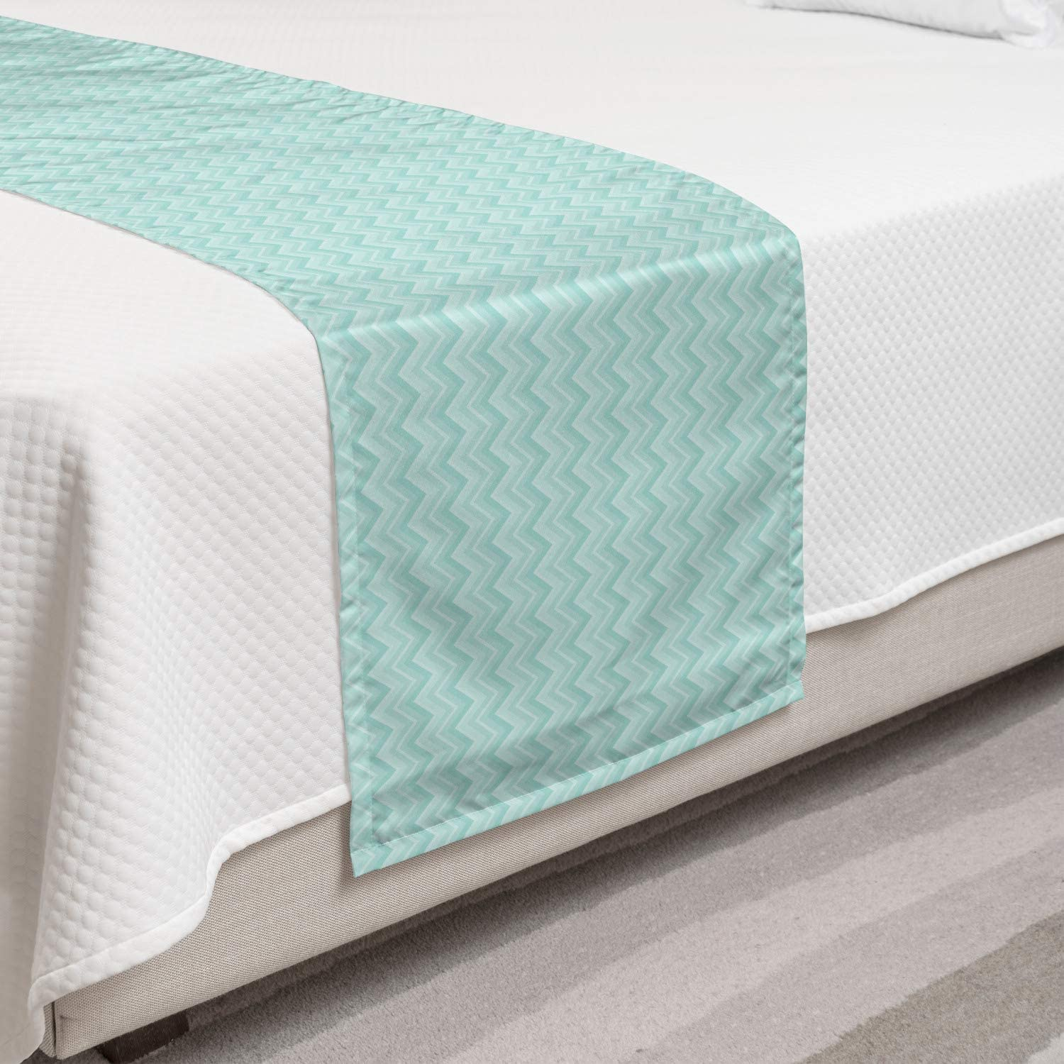 Ambesonne Chevron Bed Runner Pastel Pattern Zigzags Green Tones Max 41% Ranking TOP12 OFF