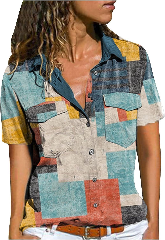 2021 Nuevo Camiseta Blusa de Mujer, Verano Camisa Moda Impresión Manga Corta Elegante Blusa Cómodo Camisa Cuello en V Camiseta Casual Tops Suelto Fiesta T-Shirt Original tee Ropa de Mujer