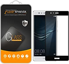 (2 Pack) Supershieldz for Huawei P9 Tempered Glass Screen Protector, (Full Screen Coverage) Anti Scratch, Bubble Free (Black)