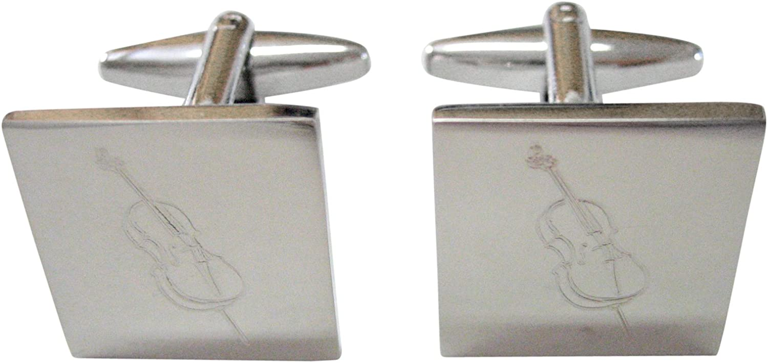 Silver Free shipping anywhere in the nation Toned Etched Cello Cufflinks Instrument Cheap bargain Music