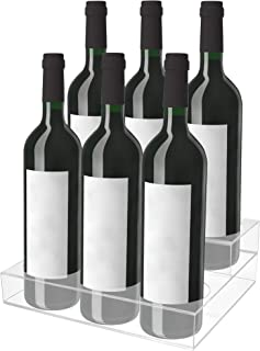 Acrylic Bottle Holder   Wine Display Riser   6 Bottles, 2 Tier Rack   Bar Counter-Top Display Stand   Wine Rack Holder for Kitchen, Pantry, Fridge   Storage Organizer for Wine, Soda, Syrups and Beer.