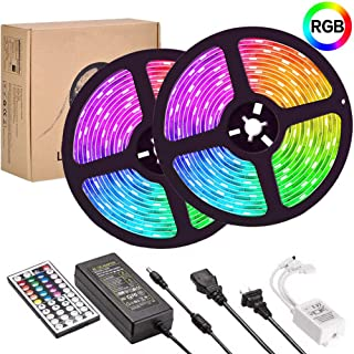 UMICKOO LED Strip Lights Kit,Led Light Strip Waterproof IP65,10m(2x5m,32.8ft) SMD 5050 300 LEDs,with IR Remote Controller for Home,Kitchen,Party,Christmas,DC 12V 5A