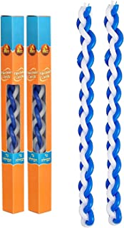 Havdalah Candle Round Blue and White Hand Made - 2 Pack