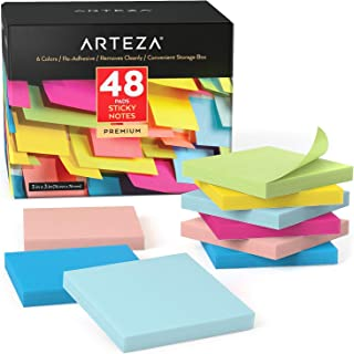 $28 » Arteza Sticky Notes 3x3 Inches, 48 Writing Pads, 100 Sheets Per Pad, Back to School Supplies, Assorted Colors, Office Supp...