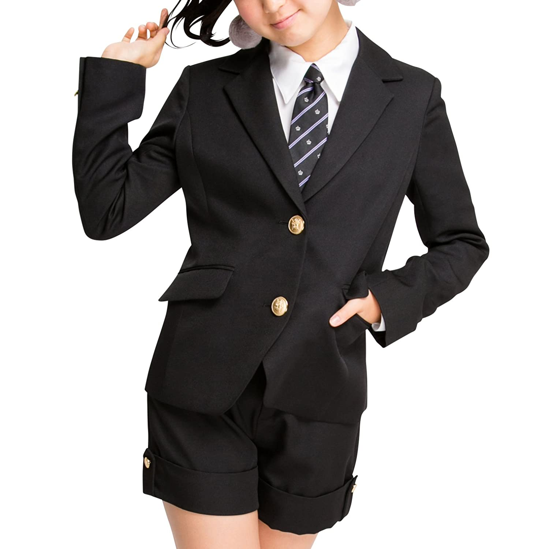 [アリサナ]arisana 卒業式 小学生 女の子 スーツ 子供服 フォーマル クロイ (ジャケット + パンツ + ネクタイ の 3点 セット)