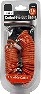 JEWELS FASHION 16 Feet Coiled Tie Out Cable – Innovative Coiled Construction Retracts Easily and Quickly to Avoid Tangles – Extra Strong Swivel Snaps Durable Long Lasting & Weather Resistant