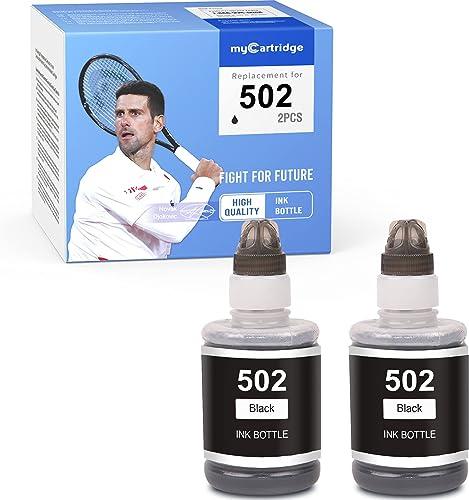 high quality MYCARTRIDGE online Compatible high quality Ink Bottle Replacement for Epson 502 T502 Refill for EcoTank ET-4760 ET-3760 ET-2760 ET-3710 Expression ET-2750 ET-4750 ET-3750 Premium ET-7750 ET-7700 (Black, 2-Pack) online