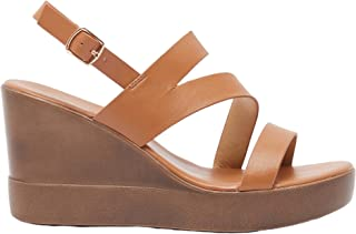 Shoexpress Womens Solid Strappy Sandals with Wedge Heels and Buckle Closure