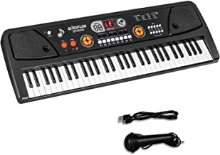 M SANMERSEN Keyboard Piano for Kids, 61 Keys Led Display Portable Piano Keyboard with Microphone MP3 Function Musical Instrument Toys for 3-12 Boys Girls Kids Gifts Piano for Kids