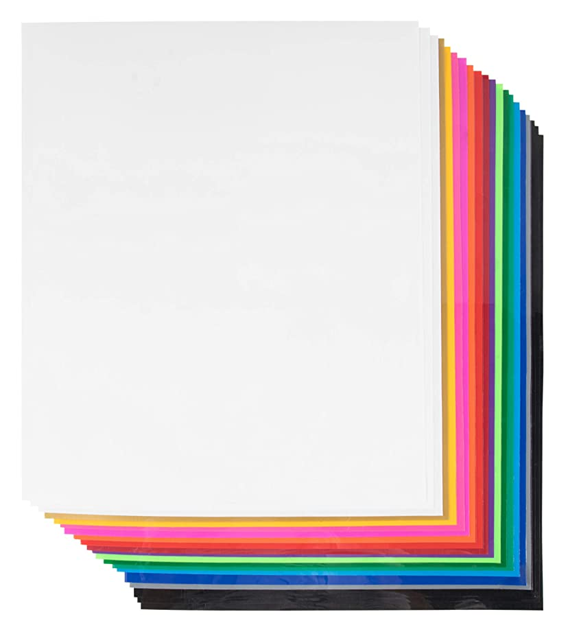 Vinyl Sheets - 20-Pack Heat Transfer Vinyl, Adhesive Vinyl Sheets, Craft Vinyl, Iron On Vinyl, for Craft Cutters, Die Cutters, Scrapbooking, DIY, Art Craft Project, Assorted Colors, 9.8 x 11.8 Inches e999372733